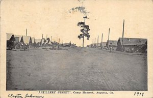 Military Post Card Artillery Street at Camp Hancock Augusta, Georgia, USA Pos...