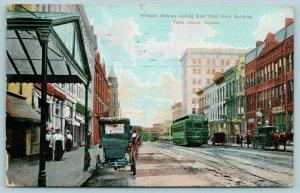 Terre Haute Indiana~Wabash Avenue Herz Building~Trolley at Restaurant~1909 PC