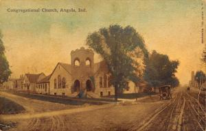 Angola Indiana~Congregational Church at Crossroads~Homes~Vintage Car~Handcolored