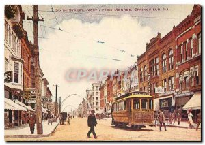 Postcard Modern Springfield Illinois. Sixth St. Looking North from Monroe