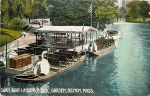 Boston MA~Swan Boat Landing @ Public Garden~1910 Postcard