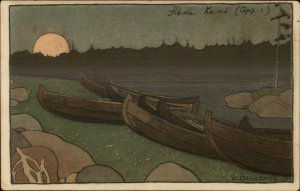 BILIBIN - Russian - Canoes Boats on Lae Artst & Crafts c1910 Postcard