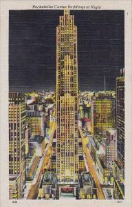 New York City Hotel Rockefeller Center Buildings At Night 1946