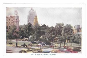 Quebec Canada Place D'Armes Park Vintage Lorenzo Audet Postcard