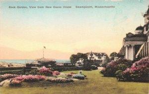 LPS40 Swampscott Massachusetts New Ocean House Rock Garden Hand Colored Postcard
