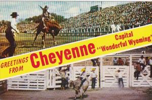 Wyoming Greetings From Cheyenne With Rodeo Scene