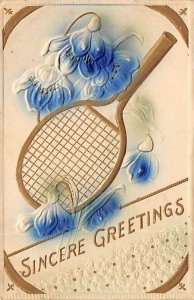 Tennis Post Card Sincere Greetings Tennis Racket and Flowers Postal Used, Dat...