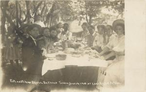 1908 Postcard School Children Picnic Celebrate Last Day of School Table w Food