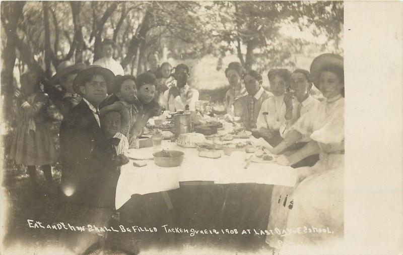 1908 Postcard School Children Picnic Celebrate Last Day of School Table w Food