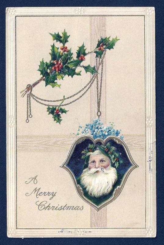 Merry Christmas & Santa Claus in Green used c1912