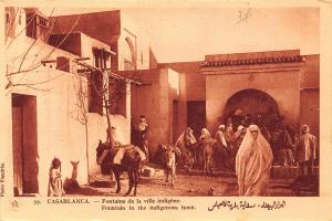 Morocco Casablanca Fountain in the Indigenous Town Donkeys Postcard