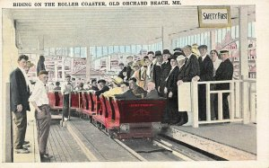Old Orchard Beach ME Riding on the Roller Coaster Postcard