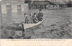 E66/ Wheeling W Va Postcard Flood Disaster 1907 Boating Railroad Line Depot 11