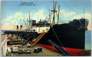 New Orleans, LA Postcard Loading Cotton Steamer at Dock Curteich Linen 1940s