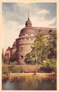Sweden Old Vintage Antique Post Card Orebro Slottet fran soder med Kvarndamme...