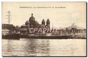 Old Postcard Marseille La Cathedrale Notre Dame and the Guard Boat