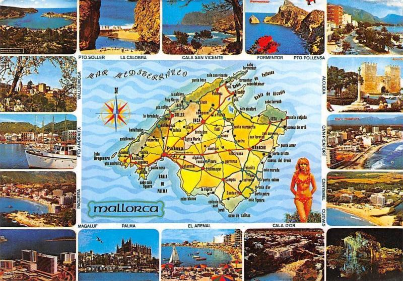 Spain Mallorca map landkarte multiviews Pto Soller La Calobra Cala