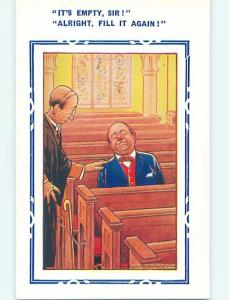 Bamforth comic MAN TRIES TO WAKE UP ANOTHER MAN SLEEPING IN CHURCH PEW HL3292