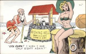 Sexy Bathing Beauty - Old Man at Wishing Well - Postcard CLEM