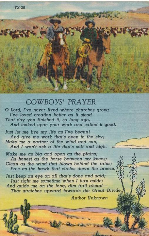 Cowboys Prayer - Author Unknown - Western - Horses - Linen