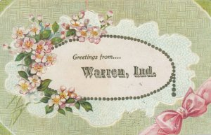 WARREN, Indiana, PU-1907; Greetings, Pink bow and flowers