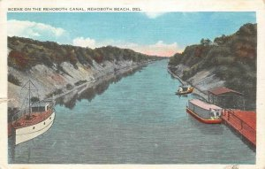 SCENE ON THE REHOBOTH CANAL REHOBOTH BEACH DELAWARE POSTCARD 1938