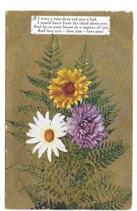 Motto Love Poem Postcard Flowers Daisy Mum Ferns Gold Moire