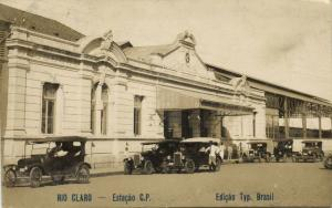 brazil, RIO CLARO, São Paulo, Estação C. P., Railway Station, Cars (1920s) RPPC