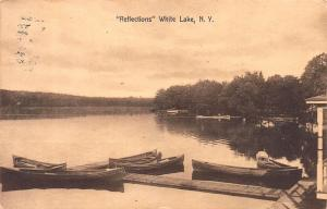 Reflections, White Lake, New York, Postcard, Used in North White Lake 1914