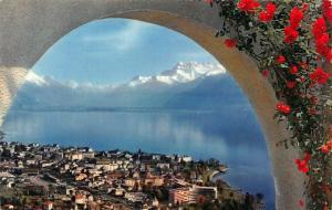 Switzerland Vevey Depuis le Mont Pelerin Panorama Lake Mountains Postcard