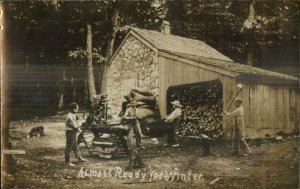 Boys Chopping Wood Readying For Winter Playing Silly c1910 RPPC