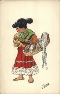 North Africa Natives Comic Art Series E. Herzig Postcard MOTHER & CHILD
