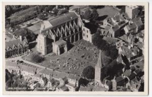 Wiltshire; Malmesbury Abbey From The Air RP PPC, Unposted, By Aero Pictorial
