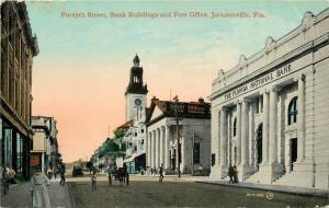 Jacksonville FL~Forsyth Street~Lady~Bank~Post Office~Recruiting Station~1910 PC