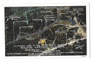 Silver Springs Florida Aerial View Location Map of Under Water Scenes Postcard