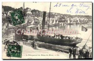 Old Postcard Trouville Unloading the Boat Le Havre