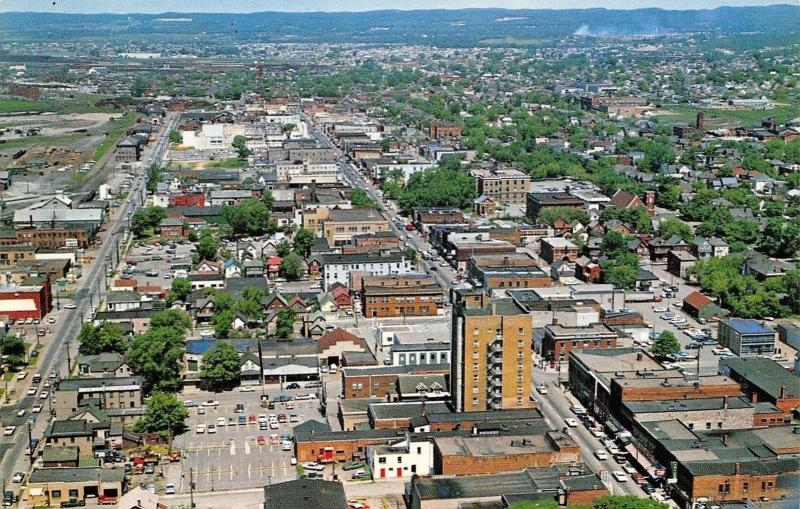 Sault Ste Marie Canada~Aerial View Looking West~Downtown~Business~Homes~1960s PC