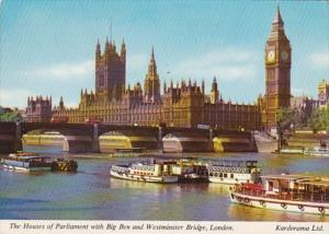 England London Houses Of Parliament With Big Ben and Westminster Bridge 1974