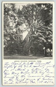 Windsor Connecticut~Grace Church~Large Trees in Front~1907 B&W Postcard