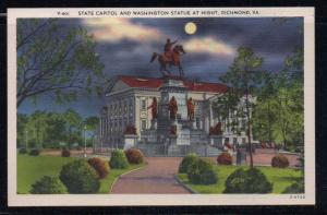 Virginia colour postcard State Capitol & Washington Statue Richmond unused