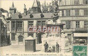 Old Postcard Rouen The statue of the Maid and the Hotel du Bourgtheroulde