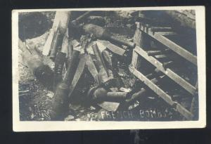 WWI WORLD WAR 1 BATTLE ACTION FRENCH BOMBS FRANCE BOMB REAL PHOTO POSTCARD