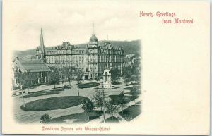 Montreal Quebec Canada Postcard Dominion Square & Windsor Hotel c1900s UNUSED