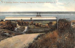 Bradford Rhode Island~US Coaling Station~Battleship~Dirt Road Down~1910 Postcard