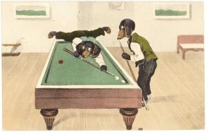Dachshund Dogs Shooting Pool Table H. & L Publisher Postcard