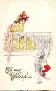 D61/ Valentine's Day Love Holiday Postcard c1910 Series 92C Woman Hat Cupid 12