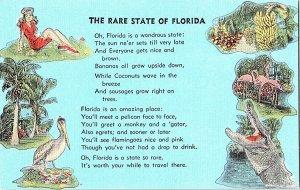 The Rare State Of Florida Poem Vintage Postcard Standard View Card