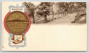 Boston Massachusetts~Faux Gold Token Embossed Postcard~Common Benches~TUCK c1906