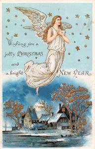 Wishing you a jolly Christmas, bright New Year, Flying Angel, Winter, Stars 1906