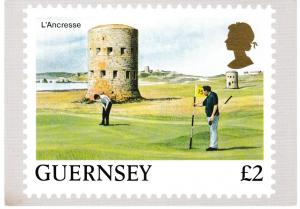 postcard Postage Stamp £2 L'Ancresse, Guernsey Golf issued 1988 not posted
